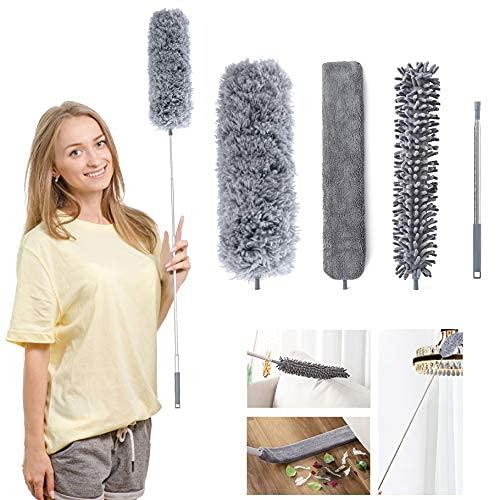 Plumero de Limpieza 3 en 1, plumero telescópico limpia radiadores con palo de ajuste de 210 cm, plumeros para el polvo lavable para la limpieza de ventiladores de techo persianas muebles telarañas