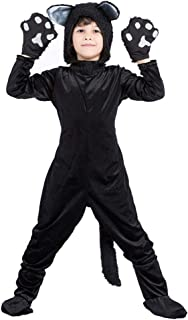 Meeyou Kids Black Cat Costume for Boys/Girls Cosplay, Child Animal Playful Jumpsuit