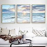WTYBGDAN Amanecer costero Cartel Decorativo Azul mar Paisaje Imagen Olas Lienzo Pintura impresión Playa Pared Arte Imagen decoración del hogar | 50x70cmx3Pcs / sin Marco
