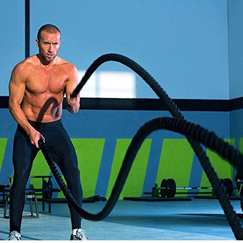 Battle Rope Trainingsseil,Sportseil Schwungseil für Fitness Kraft Training (15m/Schwarz)
