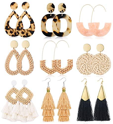 TOSGMY 9 Pairs Rattan Earrings for Women Handmade Boho Tassel Earrings Lightweight Acrylic Earrings...