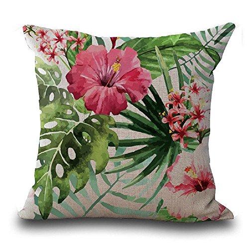 VJGOAL Casual Vintage Flor de Hibisco Mariposa Hojas Tropicales Cintura Tiro Funda de Almohada Cuadrado Suave Funda de cojín...