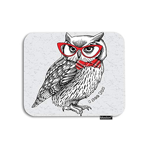 Moslion Owl Mouse Pad Cute Night Animal Owls with Red Gingham Bow Glasses Word Gaming Mouse Pad Rubber Large Mousepad for Computer Desk Laptop Office Work 7.9x9.5 Inch Black White
