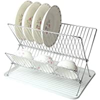 Mega Chef Foldable Easy Storage Wire Dish Rack With Plastic Tray (White)