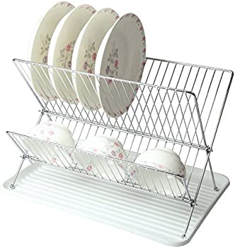 Mega Chef Foldable Easy Storage Wire Dish Rack With Plastic Tray