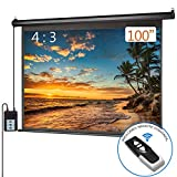 100 inch Diagonal 4:3 Motorized Projector Screen with Remote Control, Auto Power Electric Projection Screen Office Home Theater Wall/Ceiling Mount, Black Frame
