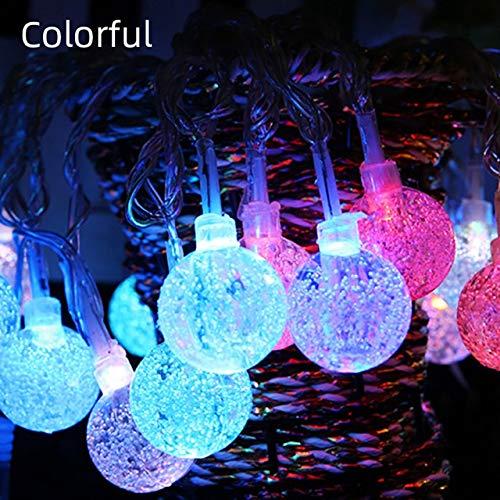 Año Nuevo Navidad Navidad Iluminación Guirnalda Decoración Luces de Hadas Guirnalda con Pilas Gypsophila Bubble Ball Lámpara para Fiesta - Colorido, 6m40Leds, Modelos de batería