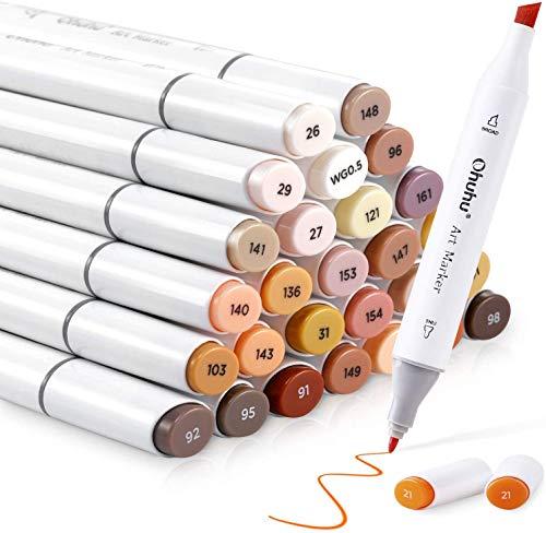 Marcadores de alcohol de 36 colores en tono de piel, marcador de boceto de doble punta Ohuhuhu, cincel y fino, marcadores a base de alcohol para niños y adultos