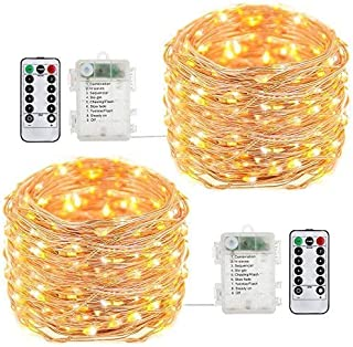 Best buways Fairy Lights,2-Pack Battery Operated Waterproof Warm White 50 LED Fairy String Lights,16.4ft Copper Wire Light with Remote Control for Christmas Parties,Garden and Home Decoration Review