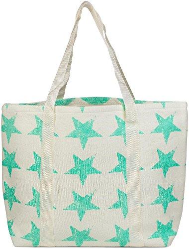 styleBREAKER Strandtasche mit Vintage Sterne Muster und Reißverschluss, Schultertasche, Shopper, Badetasche, Damen 02012073, Farbe:Creme-Mint