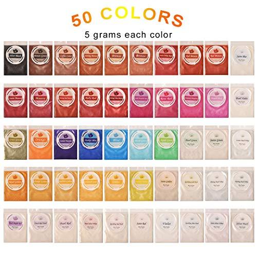 DEWEL 50er Epoxidharz Farbe, Metallic Farbe Resin Farbe Seifenfarbe Set Pigment, Mica Pulver Powder für Seife Epoxy Epoxydharz Kunstharz Gießharz, Jede Farbe ca. 5g