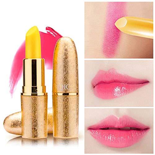 GsMeety Lip Exfoliator, Kugel Lippenstift Farbwechsel Lippen Pop, Moisturizing Chapped Anti Trill Temperaturänderung Lip Balm Damen - 3g