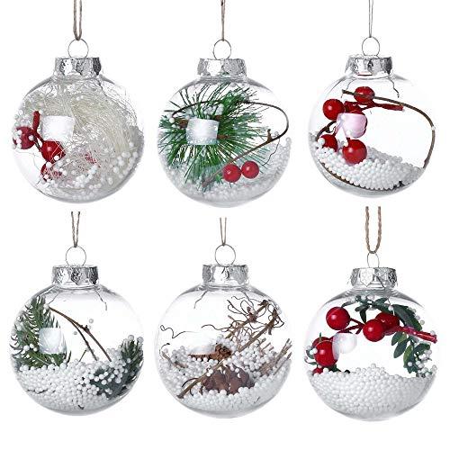 Dasongff Bola de Navidad, 80 mm de diámetro, micropaisaje, Bolas de Navidad para Rellenar con Ojal para Colgar, Bolas de plástico para decoración y Adornos Colgantes para árbol, plástico, F, 1 pc