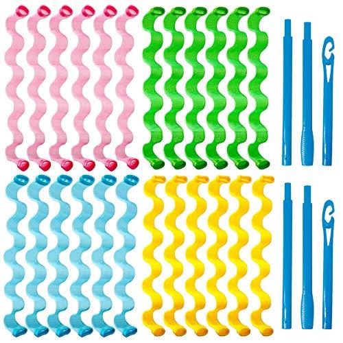 Rizadores de Pelo Mágicos, BoloShine 26 Piezas Rizadores de Pelo en Espiral, Rizadores de Pelo Sin Calor con Ganchos de Peinado para Mayoría Tipos Peinados (55cm)