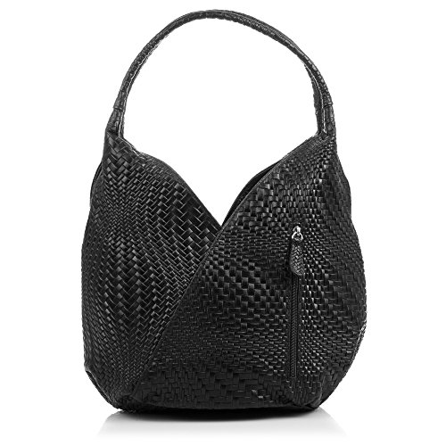 FIRENZE ARTEGIANI.borsa shopping bag donna vera pelle.Borsa vera pelle cuoio inciso motivi trecce geometrico e laccato. MADE IN ITALY. VERA PELLE ITALIANA. 33x33x18 cm. Color: NERO