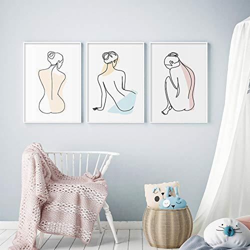 Gymqian Imágenes de Ilustraciones Minimalistas, Figura de Moda, póster de Chica, impresión en Lienzo, Arte de Pared, Pintura, Dormitorio Moderno, decoración del hogar del Hotel, 50x70cmx3 sin Marco