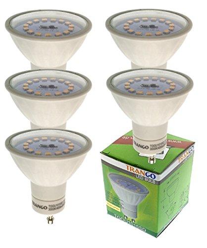 Trango TGGU1015SD - Juego de 5 bombillas LED GU10 regulables (3000 K,...