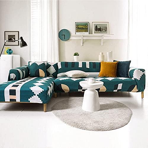 PPOS Funda de sofá Moderna con Todo Incluido Spandex Stretch Poliéster Flor Funda de sofá Silla Sala de Estar Sofá de Esquina Cove D4 3 Asientos 190-230cm-1pc