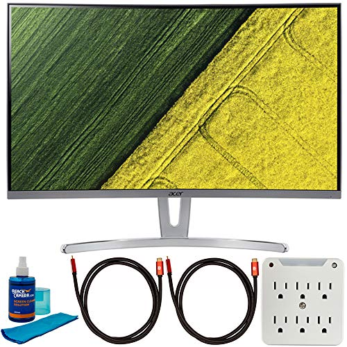 Acer UM.HE3AA.004 ED273 wmidx 27-inch Full HD Curved Monitor with Freesync Bundle with 2X Deco Gear 6FT 4K HDMI 2.0 Cable, Screen Cleaner and 6-Outlet Surge Adapter with Night Light