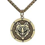 Loverindec Men Viking Wolf Nordic amuleto Odin vichingo–Collana con sacchetto regalo