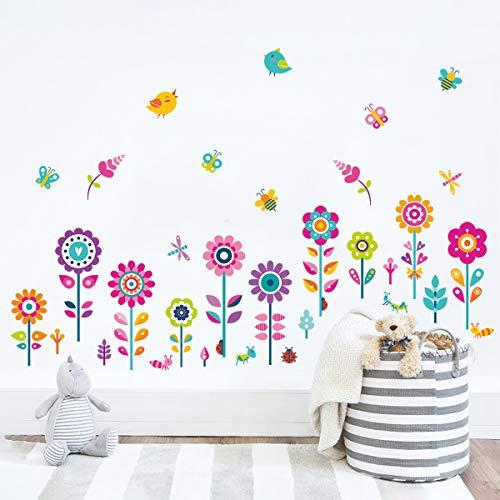 decalmile Pegatinas de Pared Jardín de Flores Vinilos Decorativos Mariposas Floral Rodapié Adhesivos Pared Habitación Infantiles Niña Dormitorio Salón