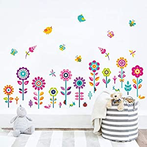 decalmile Garden Flower Wall Corner Decals Butterfly Floral Baseboard Floral Wall Stickers Baby Nursery Girls Bedroom Classroom Wall Decor