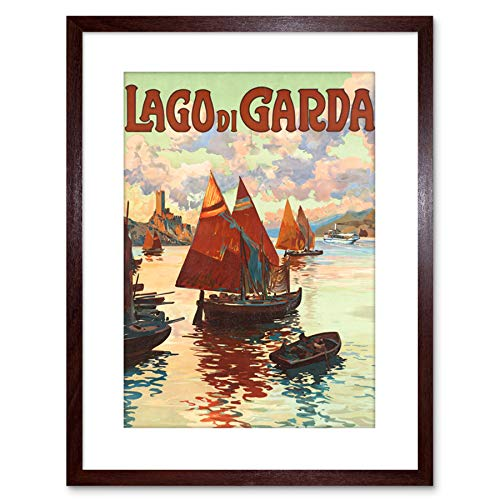 TRAVEL AD SHIPS HARBOUR COAST LAGO DI GARDA LAKE ITALY FRAMED PRINT F97X6857