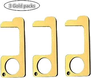 3Pcs EDC Door Opener, Door Handle for Push The Elevator Button Open, Simple Hand Brass Door Opener & Stylus Environmental Protection(Gold-3 Pack)