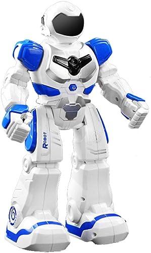SJHFDICKJFIF Robot Enfant,avec électroniques Télécomhommedé Lumières Musique Danse Gesture Sensing Talking Apprendre Marcher Programmation éducatif Charge USB, Jouets éducatifs-16.5  9  26.5cm,bleu