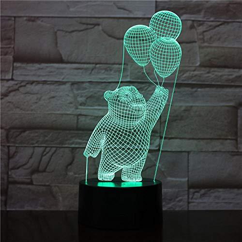 Luz nocturna 3D para niños, luz nocturna LED 3D, lámpara acrílica en forma de oso y corazón neón, regalo para el Día de la Madre, decoración de 16 colores, mando a distancia