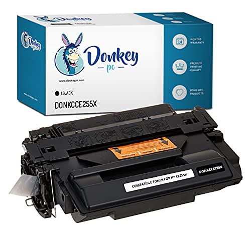 DONKEY PC Cartucho tóner Compatible para HP CE255X 55X Negro. Reemplazo para HP Laserjet P3010 P3011 P3015 P3015d P3015dn P3015n P3015x Enterprise 500 MFP M525dn M525f. 12000 páginas Impresas.