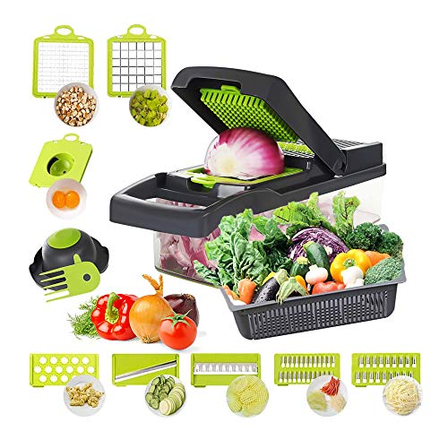 Fun Gift Cortador de verduras y rallador 12 en 1, cortador de verduras, patatas, cebollas, verduras, picadora, cubos, con recipiente gris