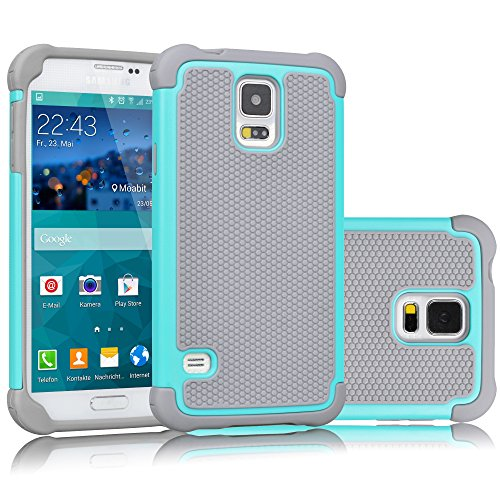 Tekcoo Galaxy S5 Case, [Tmajor] Sturdy [Turquoise/Grey] Shock Absorbing Hybrid Rubber Plastic Impact Defender Rugged Slim Hard Case Cover Bumper for Samsung Galaxy S5 S V I9600 GS5 All Carriers