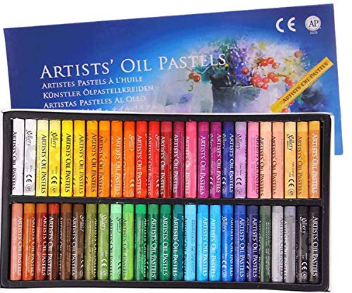 Professional Soft Oil Pastel Set Painting Chalk Oil Pastels for Graffiti Art Washable Soft Drawing Round Oil Pastels Crayons for Kids, Artist, Student, Assorted Colors (Pastel 50 pcs)