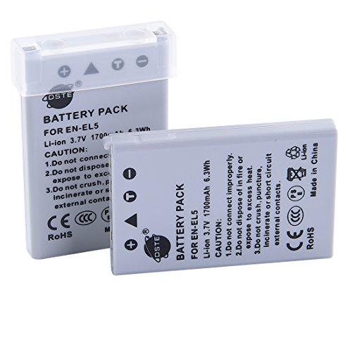 DSTE 2-Pack Ersatz Batterie Akku für Nikon EN-EL5 Coolpix P510 P520 P530 P5000 P5100 P6000 S10 3700 4200 5200 5900 7900 P3 P4 P80 P90 P100 P500 Kamera