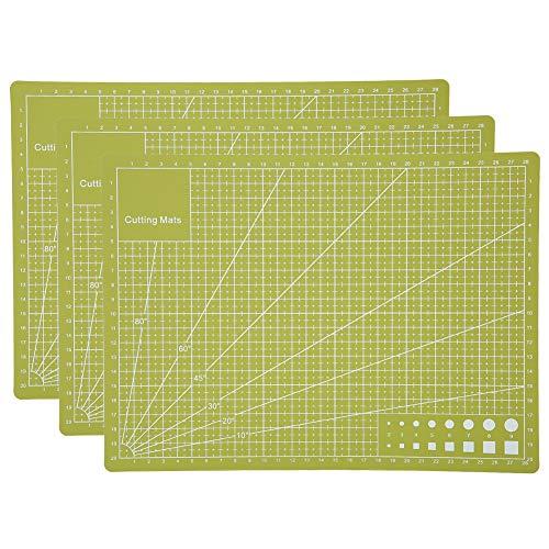 SALUTUY Alfombrilla de Corte A4Craft de 3 Piezas,Tablero de Escala de Grabado de Sello de Doble Cara autocurativo para Coser Accesorios de Repuesto de Tela para álbumes de Recortes Verde
