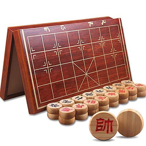 Warren (Xiangqi) Hochwertiges schweres chinesisches Schach, Schach aus Bambus mit zusammenklappbarem tragbarem 18x16,5-Zoll-Schachbrett aus zusammengesetztem Brett, Bauerndurchmesser (1,73 Zoll)