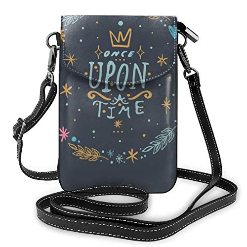 Lawenp Small Crossbody Cell Phone Purse for Women,Vector, Clip Art, Hand Drawn. Once Upon A Time Shoulder Bag Wallet with Credit Card Slots