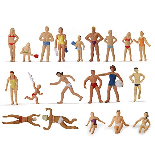 Evemodel P8718 40pcs Model Trains Swimming Figures 1:87 Scale HO Scale People Scenery Layout Landscape Miniature