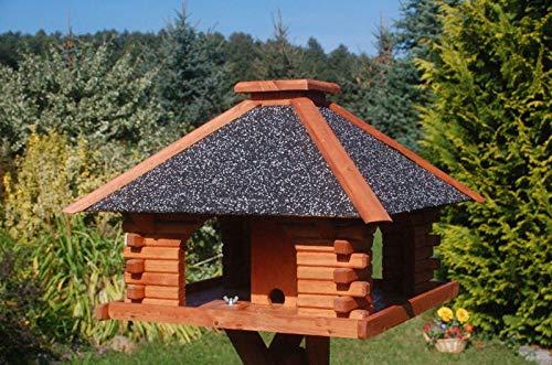 Deko-Shop-Hannusch Futterhaus/Vogelhaus mit Strukturputzdach und Solarbeleuchtung, wahlweise mit oder ohne Vogelhausständer, Vogelhausständer:ohne Vogelhausständer