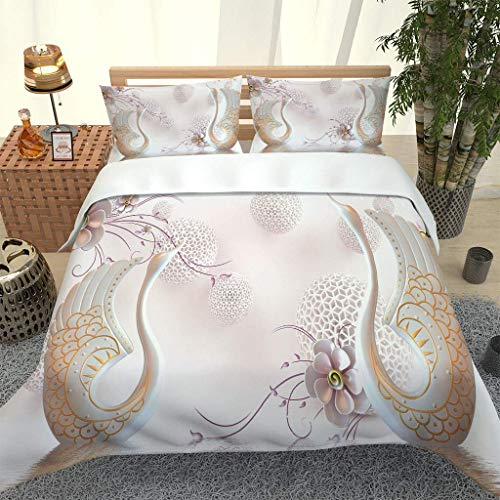 PKTMK Duvet Cover Double 3D Abstract swan flower pattern Pattern Printe Bedding Quilt Cover Set for Kids, Soft Microfiber with Zipper Closure 200x200cm with 2 Pillowcases