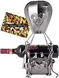 BRUBAKER XXL-Weinflaschenhalter Heißluftballon mit Liebespaar Metall - Flaschenständer - mit Grußkarte für Paar Geschenk