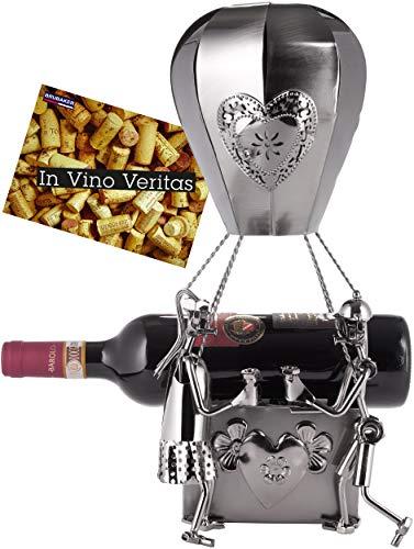 BRUBAKER XXL Porta Botella de Vino - Globo Aerostático con Amantes - Soporte de Botella - Metal - con Tarjeta de Felicitación