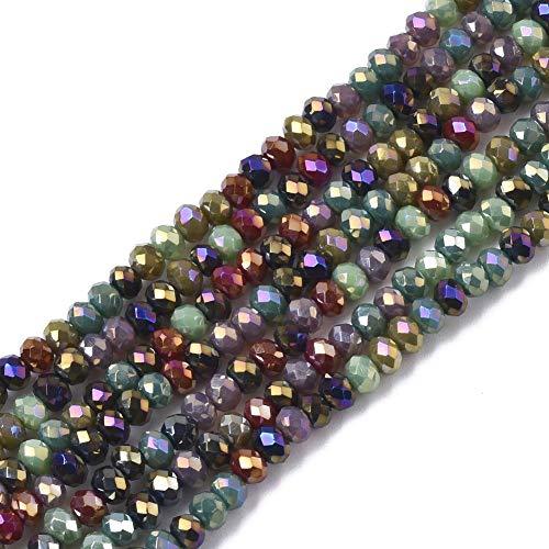 Stiesy 30 hebras de cuentas de cristal facetado galvanizadas en color AB chapado en Rondelle cuentas espaciadoras a granel para hacer pulseras y collares