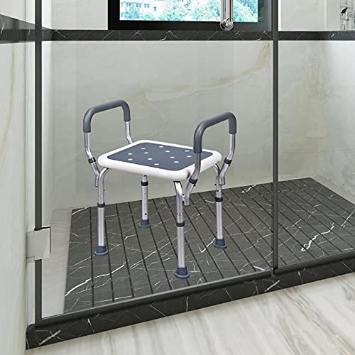 PEALOV Duschstuhl, höhenverstellbare Duschbank mit 6 Positionen, Rutschfester Duschsitz-Badestuhl mit Armlehnen,Badhockerstuhl Ergonomische Hilfe für ältere Menschen, Behinderte und Behinderte