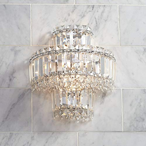 """Magnificence Wall Light Sconce Chrome Hardwired 12 1/2"""" High Fixture Tiered Clear Crystal for Bedroom Bathroom Hallway - Vienna Full Spectrum"""
