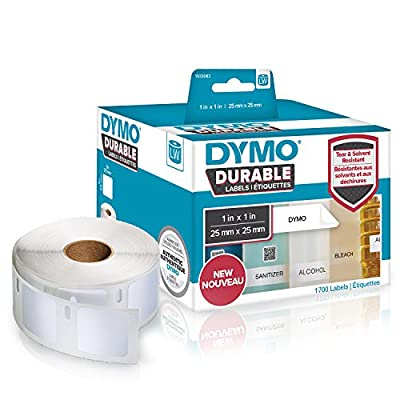 """DYMO LW Durable Industrial Labels for LabelWriter Label Printers, White Poly, 1"""" x 1"""", 2 Rolls of 850 (1933083)"""