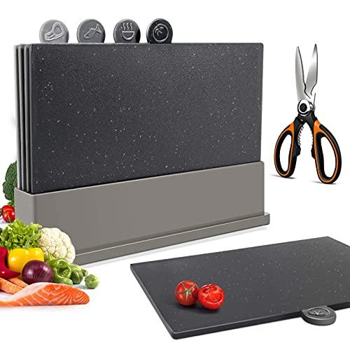 Tagliere Cucina Set di 4 , Taglieri In Plastica con Indicatori per la Preparazione Degli alimenti, Taglieri con Supporto, Senza Bpa - Masthome