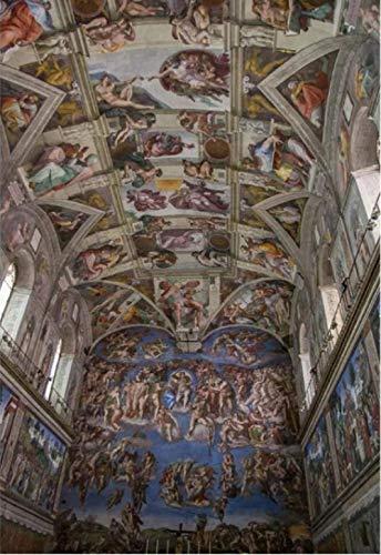 Verf op nummer voor volwassenen en kinderen Diy Olieverfschilderij Cadeausets Voorgedrukt Canvas Art Woondecoratie - Het plafond van de Sixtijnse kapel 16X20 inch Frameloos