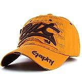Sombreros Snapback Sombreros de Gorra de béisbol Sombreros Ajustados de Hip Hoppara Hombres Mujeres Gorras Sombreros de ala Curva Gorro de daños-Deep Yellow-Adjustable